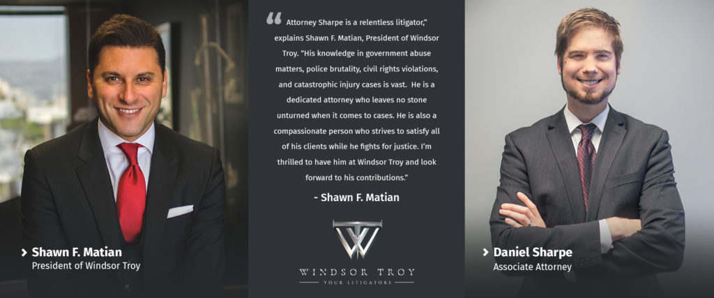 Shawn F. Matian, President of Windsor Troy, with Associate Attorney Daniel Sharpe